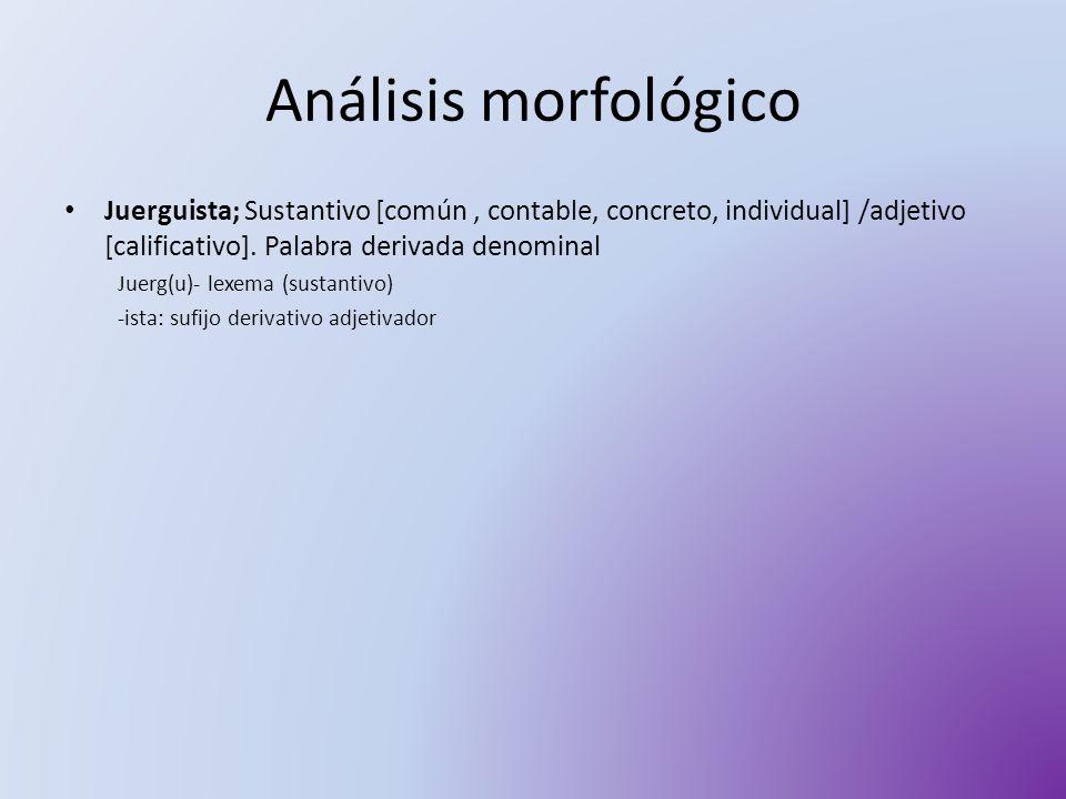 Análisis morfológico Juerguista; Sustantivo [común , contable, concreto, individual] /adjetivo [calificativo]. Palabra derivada denominal.